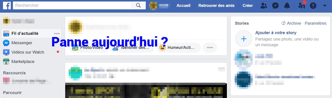 panne facebook aujourd'hui